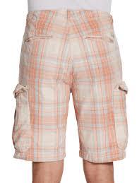 scotch u0026 soda plaid cargo shorts in orange for men lyst