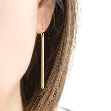 bar earrings slim vertical bar earrings gold silver