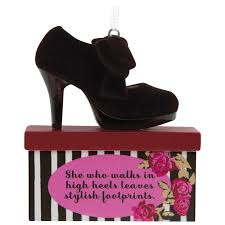 stylish footprints high heel shoe hallmark ornament gift