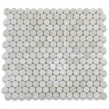 sample crema marfil 3 4 inch penny round mosaic tile polished