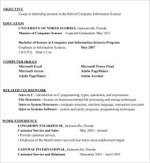 internship resume u2013 9 free samples examples format