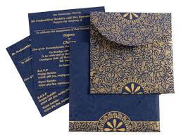 wedding cards india online d 3640 blue color handmade paper light weight cards designer