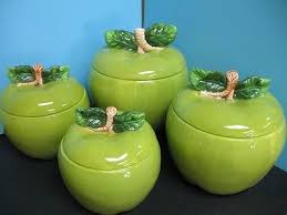 Green Apple Kitchen Accessories - 3d green apple canister set 4 pc kitchen decor storage jar fruit