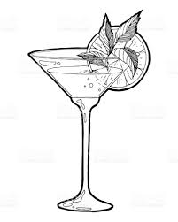 martini drawing hand drawn sketch alcoholic cocktail vintage vector illustration