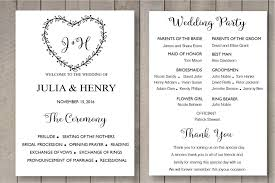 Wedding Ceremony Program Template Free Printable Wedding Program Template Card Floral Rustic Heart
