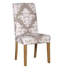 Cream Damask Seat High Back Dining Chairs  Emmerdale Chair - Damask dining room chairs