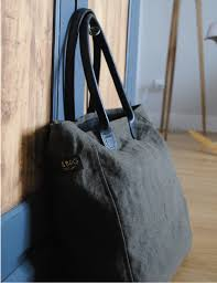 sac cabas lin cabas en lin et cuir bleu marine par bonnie and bag