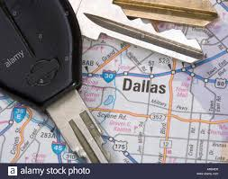 Map Of Dallas Texas A Close Up Of A Map Of Dallas Texas With Car Keys Stock Photo