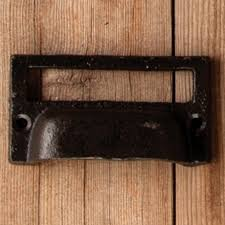 cast iron miniature label plate drawer pull a cottage in the city