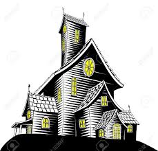 halloween illustration of a haunted ghost house royalty free