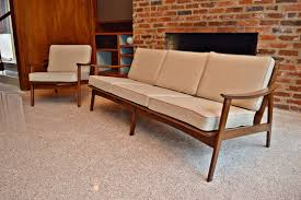 mid century danish wood frame sofa and chair in anderson county