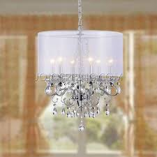 crystal 5 light black shade chrome semi ceiling lamp
