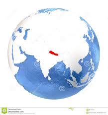 Nepal Map World by Nepal On Globe Isolated On White Stock Illustration Image 87774210
