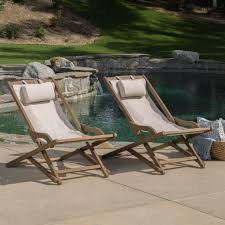 Outdoor Sling Chairs Northland Outdoor Wood And Canvas Sling Chair Set Of 2 U2013 Gdf Studio