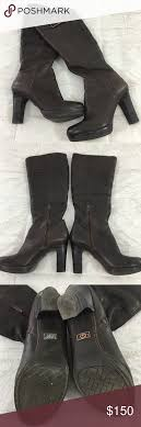 s genuine ugg boots genuine ugg chocolate leather fur lined heel boots fur ankle