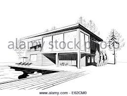 black and white sketch of modern suburban wooden house with