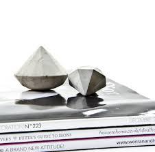 concrete decor diamond set of two cement diamonds paper
