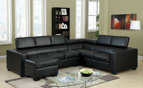 Black Sectional Sofas Modern Black Sectional Sofa With Adjustable Headrests Leather