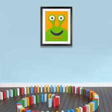 fuzzy felt kids name green alien personalised wall art canvas fuzzy felt kids name green alien personalised wall art