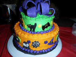 Halloween Bundt Cake Decorations by 2 Tier Round Halloween Cake Cakecentral Com