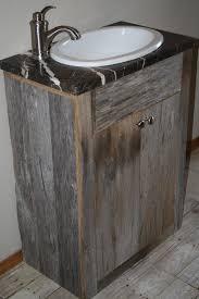 Rustic Wood Bathroom Vanity - aesthetic rustic wooden bathroom vanity with drop in ceramic sink