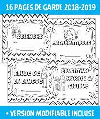 Pages de garde année scolaire 2018 2019  Allemand Anglais