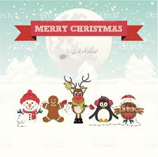 cute christmas characters in a winter wonderland snow scene stock