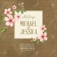 Cherry Blossom Wedding Invitations Wedding Invitation On Fabric Background Spring Flowers Cherry