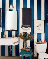 Ralph Lauren Bathroom Ideas Navy Blue And White Vertical Striped Wallpaper In Bathroom