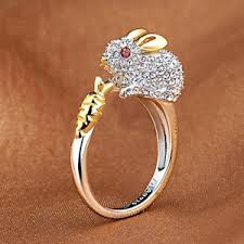 carrot ring the zodiac rabbit carrot classic fashion women opening