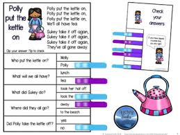 rhymes for kindergarten reading comprehension passages and questions