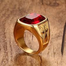 cross rings men images Men 39 s cross ring gold color stainless steel quality ring red stone jpg