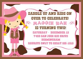 Create Own Invitation Card Cowgirl Party Invitations Kawaiitheo Com