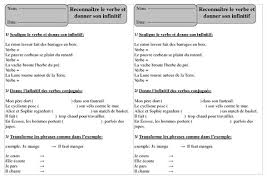 reconnaître le verbe et donner son infinitif u2013 ce1 u2013 exercices à