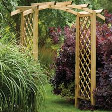 forest garden genoa arch curved notched rafter top and trellis sides