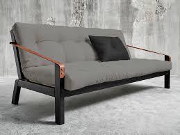 canapé convertible futon canapé convertible en bois avec matelas futon et accoudoirs cuir