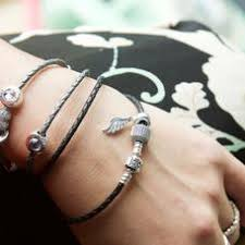 black woven leather bracelet images Black braided double leather charm bracelet pandora jewelr com%2