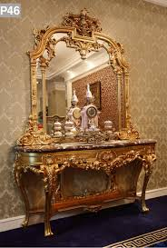 Hallway Console Table And Mirror Antique Golden Louis Style Console Table With Mirror European