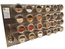 Diy Magnetic Spice Rack 24 Tin Magnetic Spice Rack Jars Labels Spoons Stainless