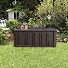 suncast resin 99 gallon deck box mocha brown dbw9200 hayneedle