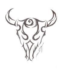 tribal bull skull tattoo drawing sabloane pinterest bull