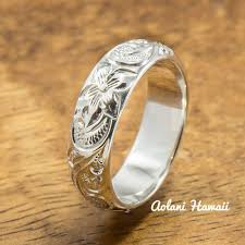 fashion hand rings images Hawaiian ring hand engraved sterling silver barrel ring 4mm jpg