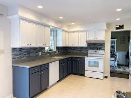 kitchen cabinets gray bottom white top beautifully refinished maple cabinets by grande finale