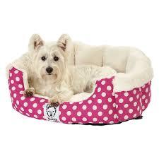 Washable Dog Beds Bunty Deep Dream Polka Dot Soft Fur Fleece Dog Bed Washable Pet