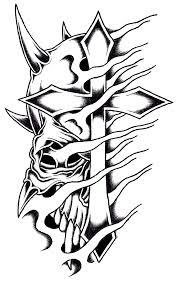 horned cross skull by stark sketches on deviantart