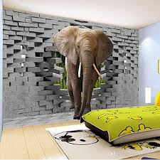 custom 3d photo wallpaper lifelike elephant wall breaching art