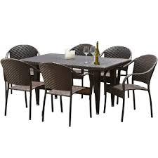 home loft concepts dimke 7pc polyethylene wicker outdoor dining
