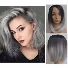 black grey hair 28cm sexy women medium black grey ombre straight girl bob