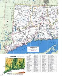Connecticut State Map by Topographic Map Of Connecticutfree Maps Of North America