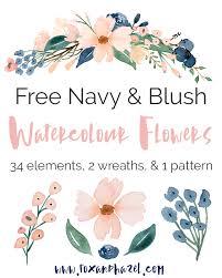 free blush u0026 navy watercolor flower graphics fox hazel